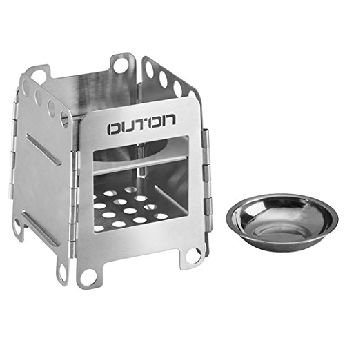 OUTON Portable Camping Wood Stove Folding Lightweight Stainless Steel Alcohol Stove Outdoor Cooking Backpacking (Multi Fuel Backpacking Stoves)