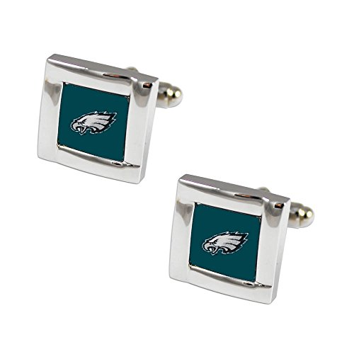 aminco NFL Philadelphia Eagles Square Cufflinks with Square Shape Logo Design Gift Box Set