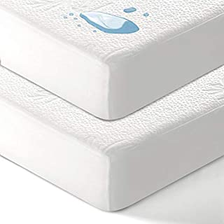 """EASELAND 2 Pcs/Pack 100% Waterproof Baby Crib Mattress Protector Organic Bamboo Fitted Sheet Style Ultra Soft Baby Mattress Pad Cover, 28"""" x 52'', 6""""- 9"""" Deep"""