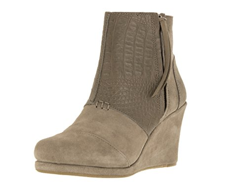 Toms Women's Desert Wedge High Taupe Suede Croc Emboss Ankle-High Boot - 10M