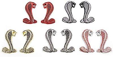 Black with Silver outline CARRUN 2Pc 3D Cobra Snake Emblem Fender Emblem Fender Sticker premium Shelby Logo Car Decal For Mustang GT500
