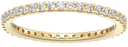 (Yellow-Gold-Plated Sterling Silver All-Around Band Ring set with Round Swarovski Zirconia (1/2 cttw), Size 8)