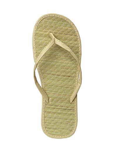 Women's Bamboo Flip Flop Sandals Beach Summer Shoes 1212 (9, Nude)