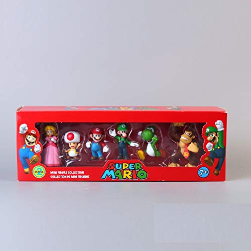 PAPWELL Set 6 Super Mario Toys 1.4 - 2.2 inch Hot Toy Bros Figures Mini Yoshi Peach Princess Luigi Toad Brothers Action Figure Christmas Collectibles Halloween Collectable Collectible Gift for Kids -