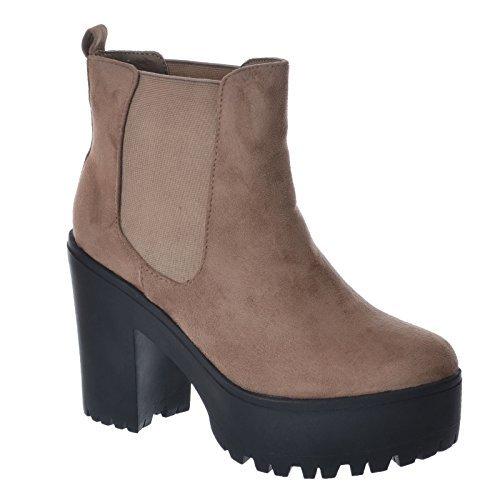 NUEVO de Mujer Grueso Medio Alto Tacón en bloque Suela dentada SIN CIERRES Elástico Botines Talla: Amazon.es: Zapatos y complementos
