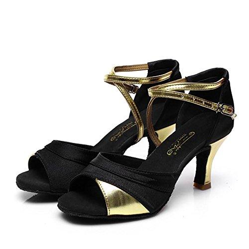 Latinos Heel Shoes de Size 35 de Dance Gold Tela Sandalia Zapatos XUE Rendimiento Black Party Black Cuban Mujeres para amp; UN Evening Hebilla Cuero Alto Color 5z7qxn
