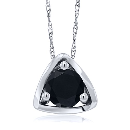 (Gem Stone King 0.46 Ct Round Black Onyx 10K White Gold Pendant With Chain)