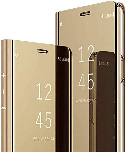 Kompatibel mit Samsung Galaxy A41 Spiegel Hülle Lederhülle Mirror Clear View Standing Handyhülle Leder + Spiegel Schutzhülle PU Brieftasche Flip Case Wallet Magnetisch Klapphülle Tasche Etui,Gold
