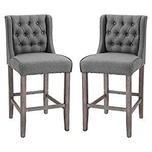 "HOMCOM 40"" Counter Height Barstools Tufted Wingback Armless Dining Kitchen Upholstered Chair with Rubber Wood Legs, Set of 2, Grey"