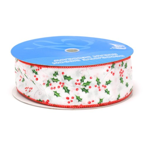 Berwick 2-1/2-Inch Wide by 50 Yard Spool Wired Edge Holly Berry Craft Ribbon, -