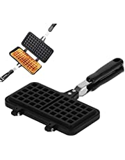 Non Stick Waffle Iron, Stove Top Waffle Maker Pan Double Side Waffle Iron for Belgian Waffles Sandwich Toaster, Breakfast and More