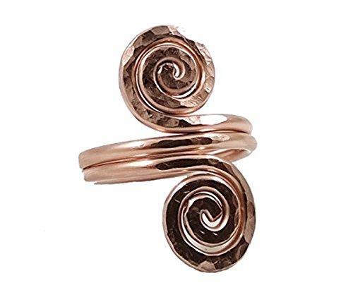 Solid Copper Ring Fibonacci Spiral Design Size 7 Hand Hammered Coil