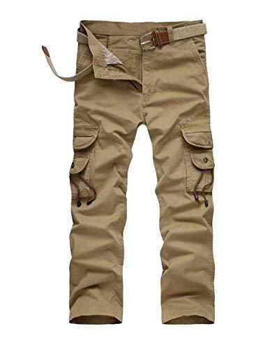 In Cargo Comodo Larghi Battercake Tasche Con Uomo Pantaloni Kaki Da Donna Unita Tinta Allentati E Sportivi IYrYqPv5