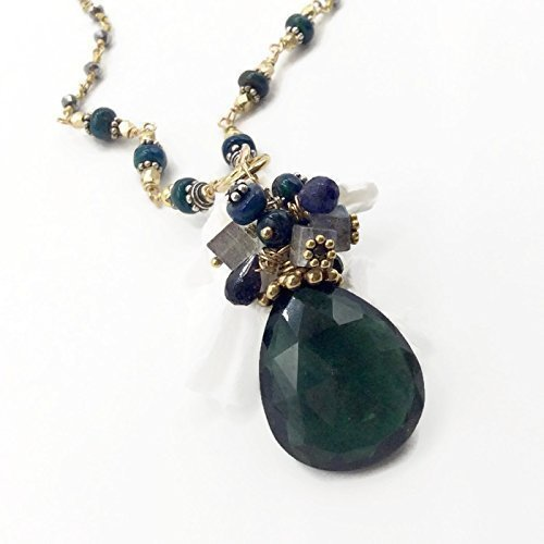 Emerald Green Gemstone Pendant | Opal Beaded Rosary Necklace | Valentines Jewelry Sale | 19 Inch Cut Precious Emerald Pendant