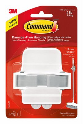 (Command 8358002331 08358002331 Broom Gripper, White with Grey Band, 4-Pack)