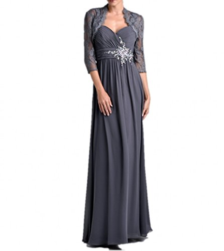 Brautmutterkleider Grau Ballkleider Rock Blau Langarm Damen Lang Spitze A Linie Bolero Dunkel Charmant Abendkleider q80pxZxO
