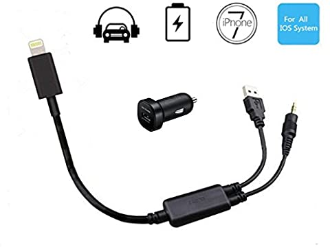 Hain BMW Car AUX In Adapter 3.5mm Jack and USB Y Cable Connecting iPhone 7 / 7 Plus Audio Interface Lightning Charger Cord, Compatible with all Apple IOS System (Including 10.3) (39 Inches/100 (Bmw Accessories 09 328 E90)