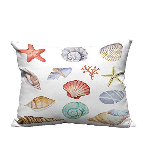 YouXianHome Zippered Pillow Covers of Different Type Seashells Scallop Mollusk Summer Exotic Creatures Animals Pri Decorative Couch(Double-Sided Printing) 13x17.5 inch