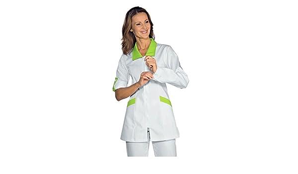 Isacco-Camiseta de manga larga, diseño de médico retroussables Tortola, color blanco y verde manzana: Amazon.es: Ropa y accesorios