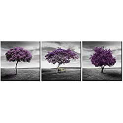 "Canvas Print Wall Art Picture for Home Decor Landscape Meadow Purple Tree Green Field Lawn in Black and White Style 3 Pieces Paintings Framed Artwork 16""x16""x3 Panel Pictures Prints On"