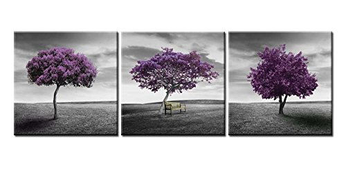 (Canvas Print Wall Art Picture for Home Decor Landscape Meadow Purple Tree Green Field Lawn in Black and White Style 3 Pieces Paintings Framed Artwork 16