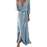 Scaling ❤ Women Dress,Womens Summer Sexy Deep V Print Maxi Dress Bandage High Split Long Dress with Belt