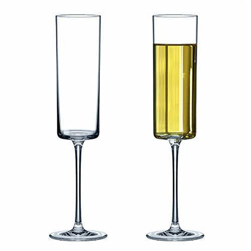 Premium Crystal Champagne Flute Glasses Elegantly Designed Hand Blown Champagne Glasses, Lead Free, 2 Set Champagne Cups YINUOWEI