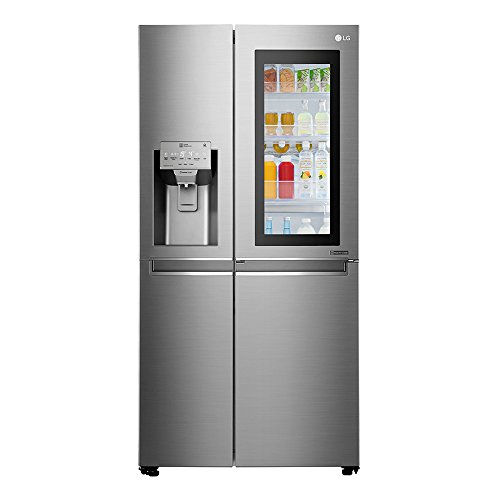 Stainless steel fridge with glass door to see inside