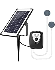 Solar Water Air Pump Fish Tank Oxygenator,Outdoor Pool Pond Air Oxygen Pump Aerator with Aquarium Oxygen Pipe and Air Bubble Stone,for Gardening Water Circulation,Small Pond,Landscape Decoration