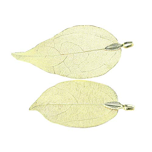 2pcs Copper Plated Natural Real Filigree Leaf Pendant Charms for Art Making Necklace Jewelry Crafting Key Chain Bracelet Pendants Accessories Best| Color - Yellow