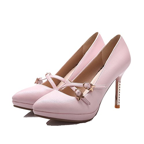 AllhqFashion Womens Soft Material Buckle Pointed Closed Toe High-Heels Solid Pumps-Shoes Pink c1QzVku0c