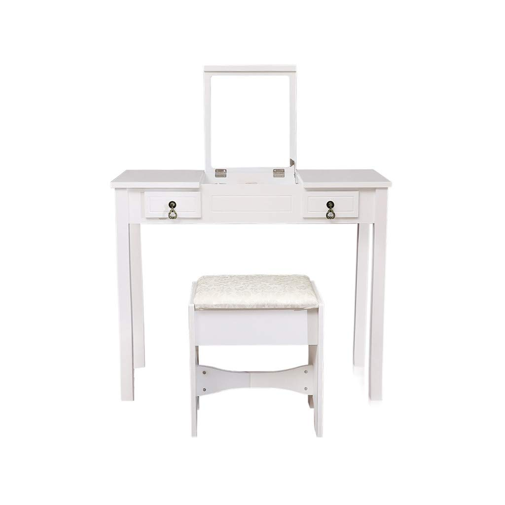TADAMI Vanity Set with Mirror & Cushioned Stool Dressing Table Vanity Makeup Table with 9 Removable Organizers for Storage Divider 2 Drawers Simple Style Vanity Dressing Desk for Bedroom Bathro(White)