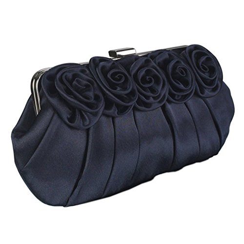 Wedding Short Evening With Purse A Navy Design Clutch Handbag Long Flower Party And Chain Bag Satin 81BvSSwqH