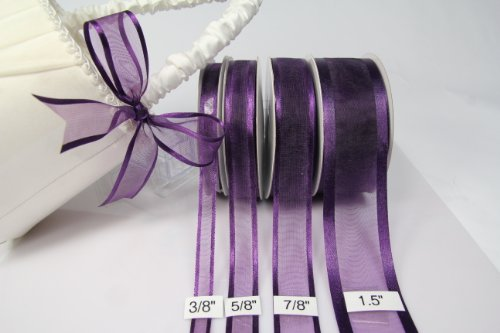 Plum Organza Ribbon With Satin Edge-25 Yards X 3/8 Inches