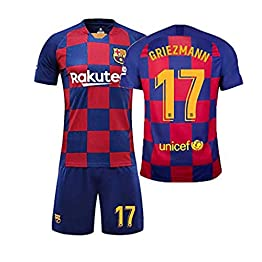 MS-QY Maillot De Foot 17# Griezmann Fan Shirt, Ensemble T-Shirt D'entraînement Enfant Et Adulte À Manches Courtes Et Shorts,Child~26(140~150CM)