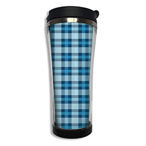 Travel Coffee Mug 3D Printed Portable Vacuum Cup,Insulated Tea Cup Water Bottle Tumblers for Drinking with Lid 8.45 OZ(250 ml)by,Checkered,Intersecting Stripes and Squares Picnic Themed Tile Pattern i