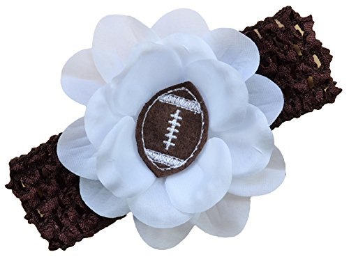 (Baby Embroidered Felt Football Flower Headband (Brown) )