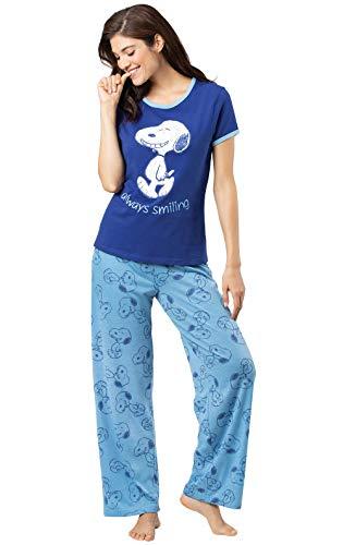 PajamaGram Cute Pajamas for Women - Fun Pajamas for Women, Snoopy, Blue, M, 8-10