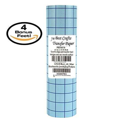"""Best Crafts Clear 12"""" X 10' Foot Roll Transfer Paper w/ Grid- Perfect Alignment of Cameo or Cricut Self Adhesive Vinyl for Decals, Signs, Walls, Windows and Other Smooth Surfaces"""