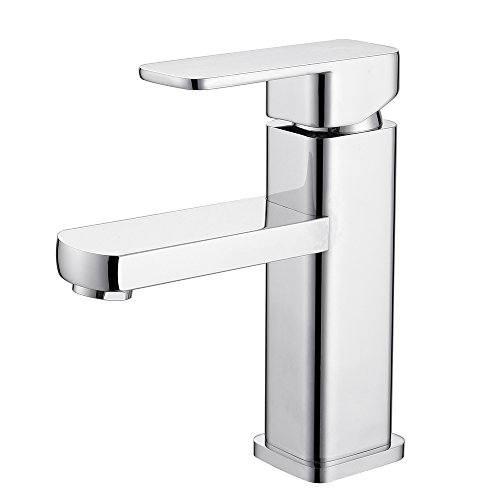 Galliya Modern Single Handle Bathroom Sink Faucet with Solid Brass and Supply Hose, Lavatory Basin Mixer Taps, Chrome Finish (Chrome-4)