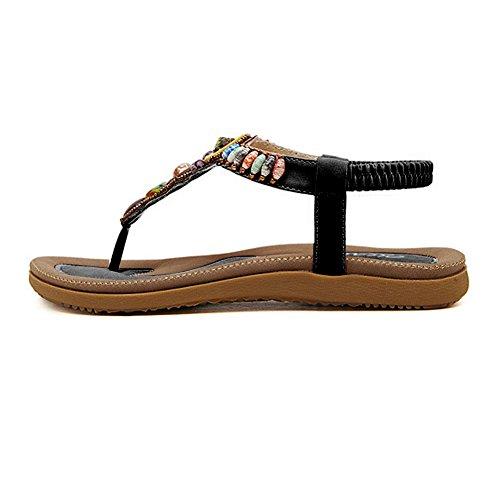 Sandali da donna da estate, piatti, modello con infradito (EU 35, Nero)