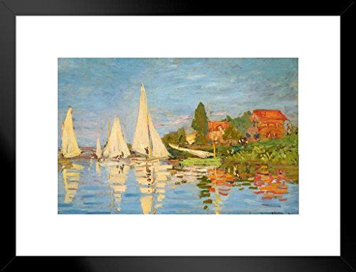 Poster Foundry Claude Monet Regattas at Argenteuil 1872 French Impressionist Matted Framed Wall Art Print 20x26 inch (Monet Sailboats)