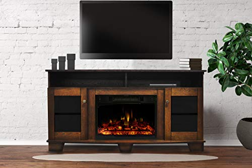 CAMBRIDGE Savona Heater with 59-in. Walnut TV Stand, Enhanced Log Display, Multi-Color Flames, and Remote, CAM6022…