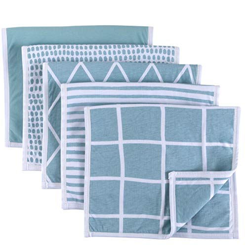 Baby Burp Cloth, Ultra Absorbent Reversible Jersey Cotton Large Burp Cloths, Cloth Diapers 20 x 12 5 Pack (Teal)