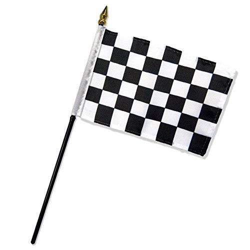 MWS 4x6 inch Black & White Checkered Table Desk Flag Mounted on a 10 inch Black Plastic Stick Staff (Super Polyester) Cloth Fabric (Sewn Edges for Durability) 4