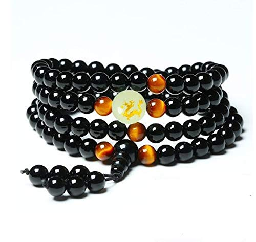 Zozu Yoga Black Onyx Men 6mm 108 Beads Strand Bracelets Luminous Natural Stones Tiger Eyes Buddha Mala Bracelet For Women Jewelry (Dragon)