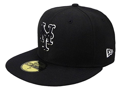New Era 59fifty Men's Hat New York Mets Black/White Fitted Cap (7 1/2) (New York Mets Fitted Cap)