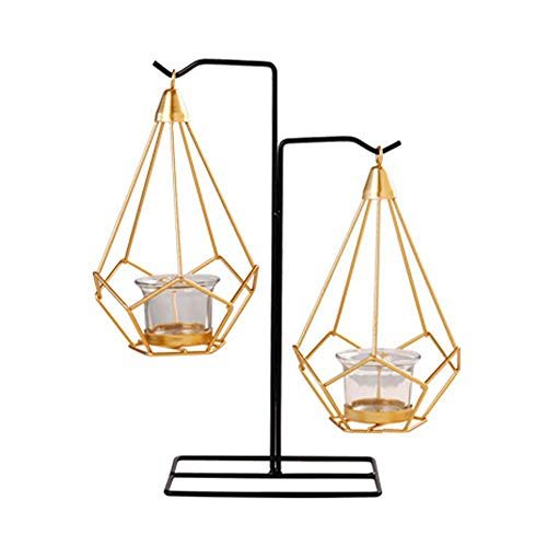 Umiwe Nordic Pillar Candle Holder, Iron Hanging Votive Candle Holder Metal Crafts Glass Tealight Candlestick Holders Wedding Room Home Decor(Candle Not Include)