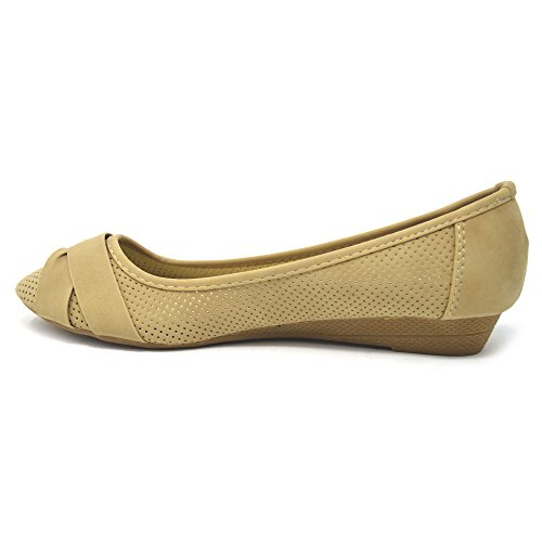 Star Material Cut Sintético de Out Mujer Ballet Xelay Beige ZwfU66