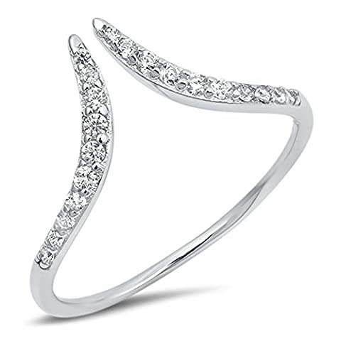 Open Pointed Chevron Wave Clear CZ Ring New .925 Sterling Silver Band Size 9 (RNG17649-9) (Chevron Cz Ring)